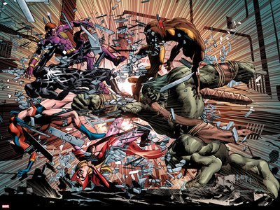 New Avengers No.23: Ms. Marvel, Spider-Man, Scarlet Witch, Hawkeye, Wolverine, and Skaar Fighting Wall Decal by Mike Deodato