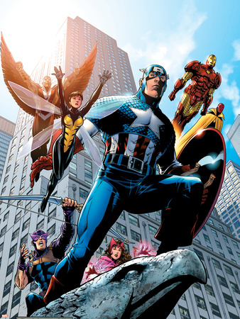 Avengers No.82 Cover: Captain America, Hawkeye, Falcon, Iron Man, Vision, Scarlet Witch & Avengers Wall Decal by Scott Kolins