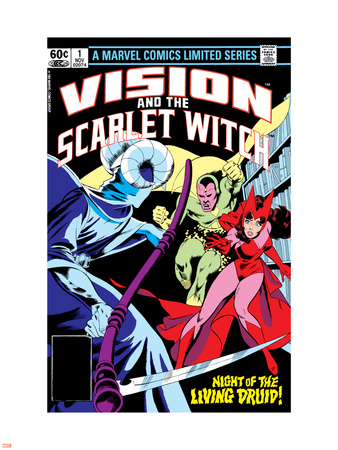 Vision And The Scarlet Witch No.1 Cover: Samhain, Scarlet Witch and Vision Wall Decal by Rick Leonardi