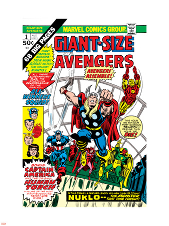 Giant-Size Avengers No.1 Cover: Thor, Captain America, Iron Man, Vision and Scarlet Witch Charging Wall Decal by Rich Buckler