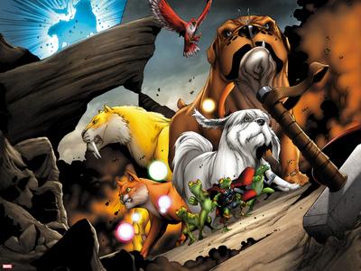 Avengers vs. Pet Avengers No.2: Zabu, Hairball, Ms. Lion, Lockjaw, and Redwing Posing Plastic Sign by Ig Guara