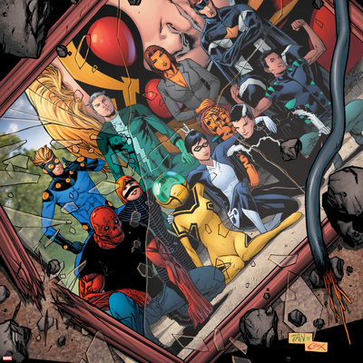Avengers Academy No.20 Cover: Mettle, Hazmat, Finesse, Striker, Quicksilver, Tigra, Wasp and Others Wall Decal