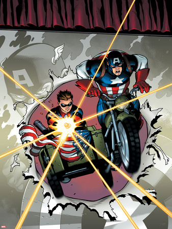 Captain America and Bucky No.621 Cover: Riding a Motorcycle and Sidecar Wall Decal by Ed McGuinness
