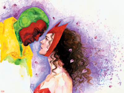 Avengers Finale No.1 Headshot: Vision and Scarlet Witch Plastic Sign by David Mack