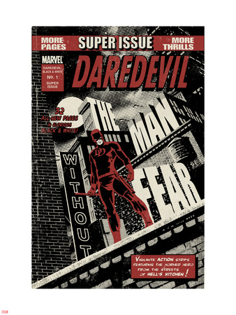 Daredevil Black & White No.1 Cover: Daredevil Standing on a Rooftop Plastic Sign by David Aja