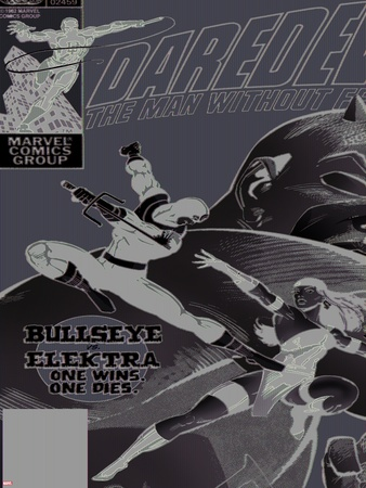 Daredevil No.181 Cover: Bullseye, Daredevil and Elektra Plastic Sign by Frank Miller