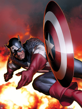 Captain America No.2 Cover: Captain America Jumping and Throwing his Shield Plastic Sign by Steve MCNiven