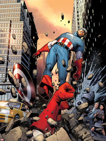Captain America No.3 Cover: Punched Through the Street Plastic Sign by Steve MCNiven