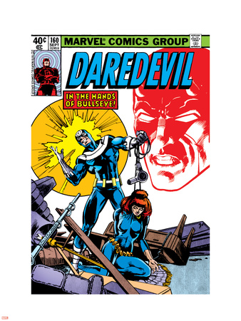 Daredevil No.160 Cover: Bullseye, Black Widow and Daredevil Charging Plastic Sign by Frank Miller