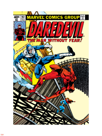 Daredevil No.161 Cover: Daredevil, Bullseye and Black Widow Plastic Sign by Frank Miller