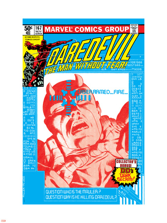 Daredevil No.167 Cover: Daredevil and Mauler Plastic Sign by Frank Miller