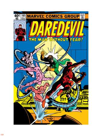 Daredevil No.165 Cover: Daredevil and Doctor Octopus Crouching Plastic Sign by Frank Miller