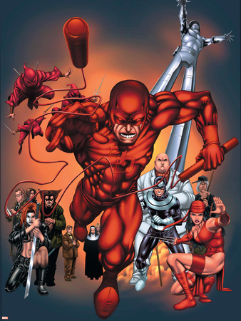 The Official Handbook Of The Marvel Universe: Daredevil 2004 Cover: Daredevil Plastic Sign by Salvador Larroca