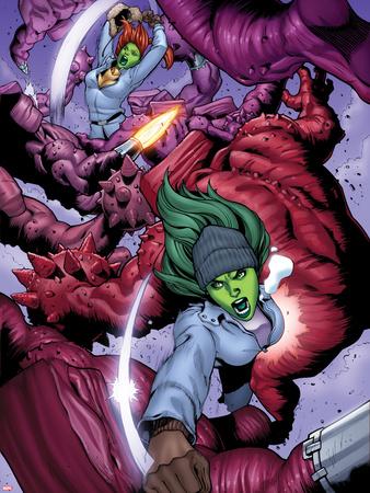 She-Hulks No.3: She-Hulk and Lyra Fighting Wall Decal by Ryan Stegman