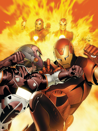 Invincible Iron Man No.6 Cover: Iron Man, Stane and Ezekiel Wall Decal by Salvador Larroca