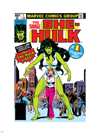 Hulk Family: Green Genes No.1 Cover: She-Hulk, Walters and Jennifer Plastic Sign by John Buscema