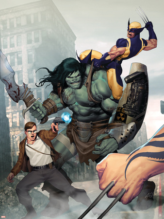 Incredible Hulk No.603 Cover: Skaar, Wolverine, Banner and Bruce Wall Decal by Ariel Olivetti