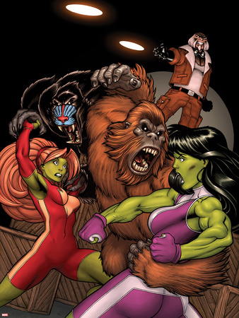 She-Hulks No.2 Cover: She-Hulk and Lyra Fighting Wall Decal by Ed McGuinness