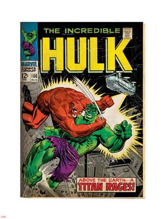 Marvel Comics Retro: The Incredible Hulk Comic Book Cover No.106, Titan Rages (aged) Wall Decal
