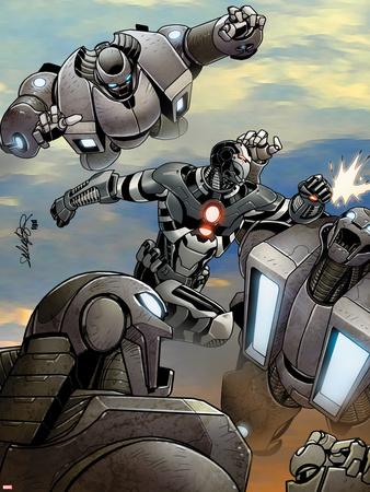Iron Man 2.0 No.8 Cover: War Machine Fighting and Flying Wall Decal by Salvador Larroca
