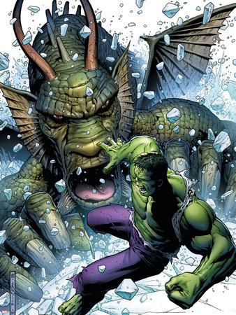 Hulk Vs. Fin Fang Foom No.1 Cover: Hulk and Fin Fang Foom Wall Decal by Jim Cheung