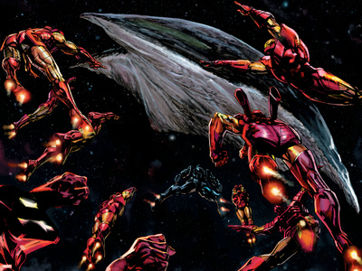 The Invincible Iron Man No.19 Group: Iron Man Wall Decal by Butch Guice