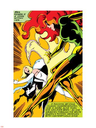 Marvel Comics Retro: X-Men Comic Panel, Phoenix, Emma Frost, Fighting Plastic Sign