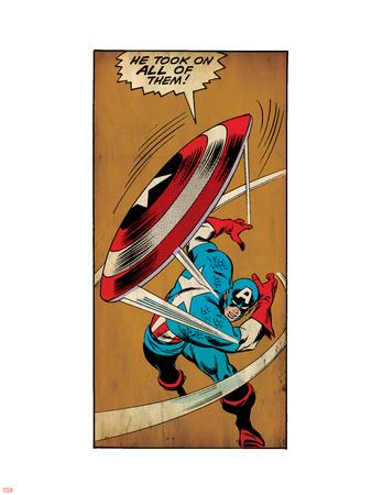 Marvel Comics Retro: Captain America Comic Panel, Throwing Shield (aged) Plastic Sign