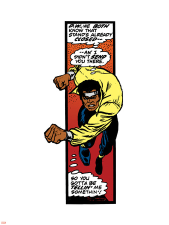 Marvel Comics Retro: Luke Cage, Hero for Hire Comic Panel, Charging Wall Decal