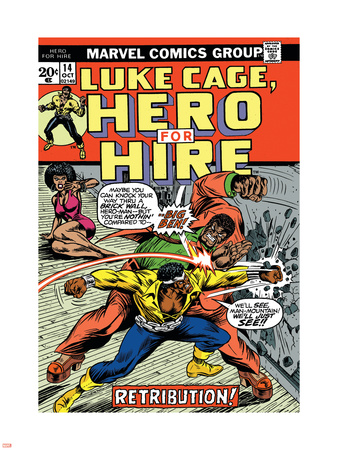 Marvel Comics Retro: Luke Cage, Hero for Hire Comic Book Cover No.14, Fighting Big Ben Wall Decal