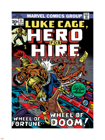 Marvel Comics Retro: Luke Cage, Hero for Hire Comic Book Cover No.11, Wheel of Fortune and Doom Wall Decal