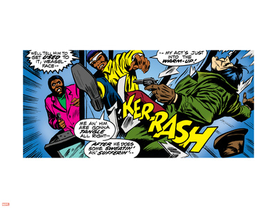 Marvel Comics Retro: Luke Cage, Hero for Hire Comic Panel, Kicking and Fighting Plastic Sign