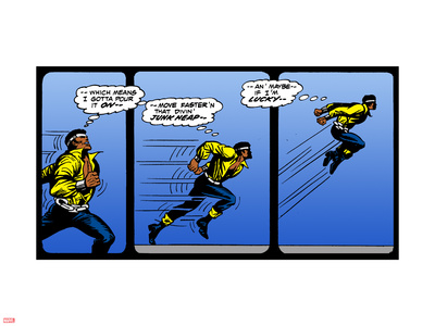 Marvel Comics Retro: Luke Cage, Hero for Hire Comic Panel, Running and Jumping Plastic Sign