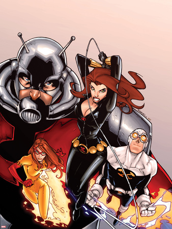 Onslaught Unleashed No.2 Cover: Black Widow, Gravity, Firestar, and Ant-Man Running Wall Decal by Humberto Ramos