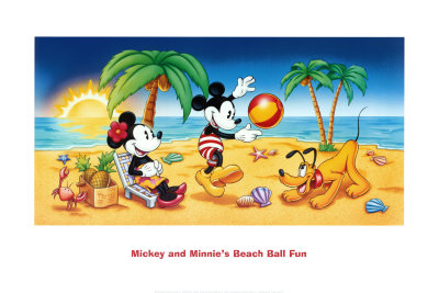 Mickey et Minnie jouent au beach ball Reproduction d'art