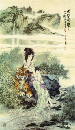 Femme prs d'un tigre Reproduction d'art