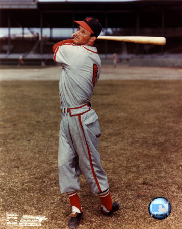 Stan Musial - with bat over shoulder, posed Photo