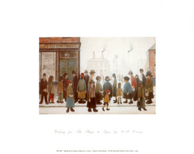 Waiting for the Shops to Open Posters by Laurence Stephen Lowry