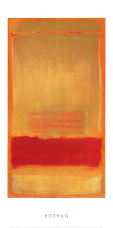 Zonder titel, ca.1949, rood/oranje balk op geel vlak Poster van Mark Rothko