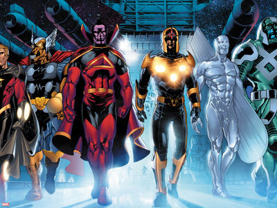The Thanos Imperative No.3: Quasar, Beta-Ray Bill, Gladiator, Nova, SilverSurfer, Ronan the Accuser Plastic Sign by Miguel Angel Sepulveda