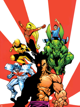 The Official Handbook Of The Marvel Universe Teams 2005 Group: Sunfire Wall Decal by Gus Vazquez