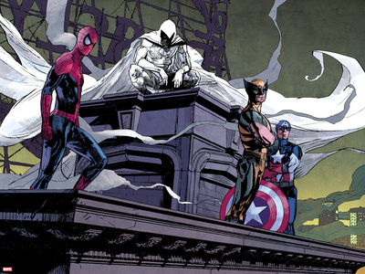 Moon Knight No.2: Spider-Man, Moon Knight, Wolverine, and Captain America Plastic Sign by Alex Maleev