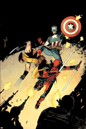 Deadpool 15 Cover: Deadpool, Wolverine, Captain America Plastic Sign by Declan Shalvey