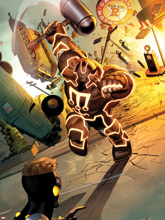 Fear Itself: The Home Front No.3: Juggernaut Charging and Smashing Plastic Sign by Mike Mayhew