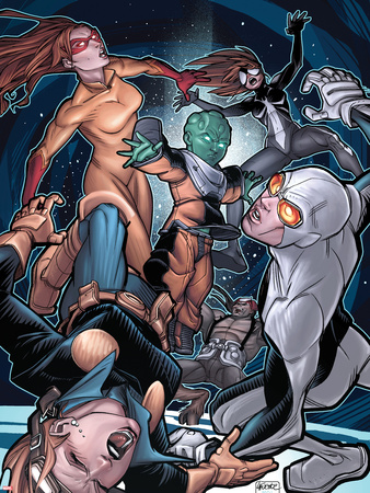 Young Allies No.5 Cover: Nomad, Gravity, Firestar, and Spider-Girl Fighting Plastic Sign by David LaFuente