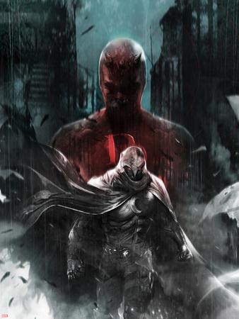 Shadowland: Moon Knight No.1 Cover: Moon Knight and Daredevil Walking Plastic Sign by Francesco Mattina