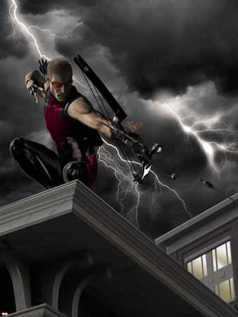 Ultimate Hawkeye No.2 Cover: Hawkeye Crouching and Shooting a Bow and Arrow Wall Decal by Kaare Andrews