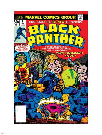 Black Panther No.1 Cover: Black Panther, Little, Abner and Princess Zanda Fighting Wall Decal by Jack Kirby