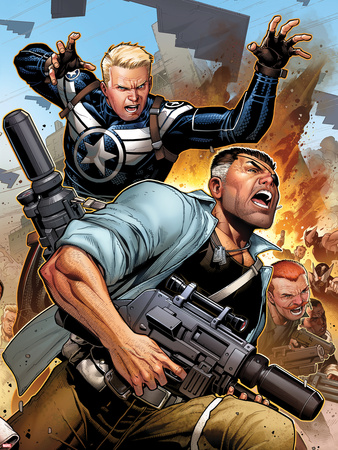 Secret Warriors No.19 Cover: Steve Rogers and Nick Fury Fighting and Running Wall Decal by Jim Cheung