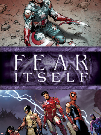 Fear Itself No.6 Cover: Captain America, Iron Man, Spider-Man, Wolverine, Spider Woman and Hawkeye Plastic Sign by Steve MCNiven